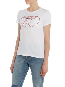 Levi's Short sleeve heart graphic tee in white