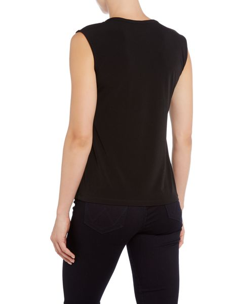 Episode Cap sleeve tee with PU v neck trim