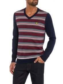 Lyle and Scott Golf Stripe V-Neck Pullover