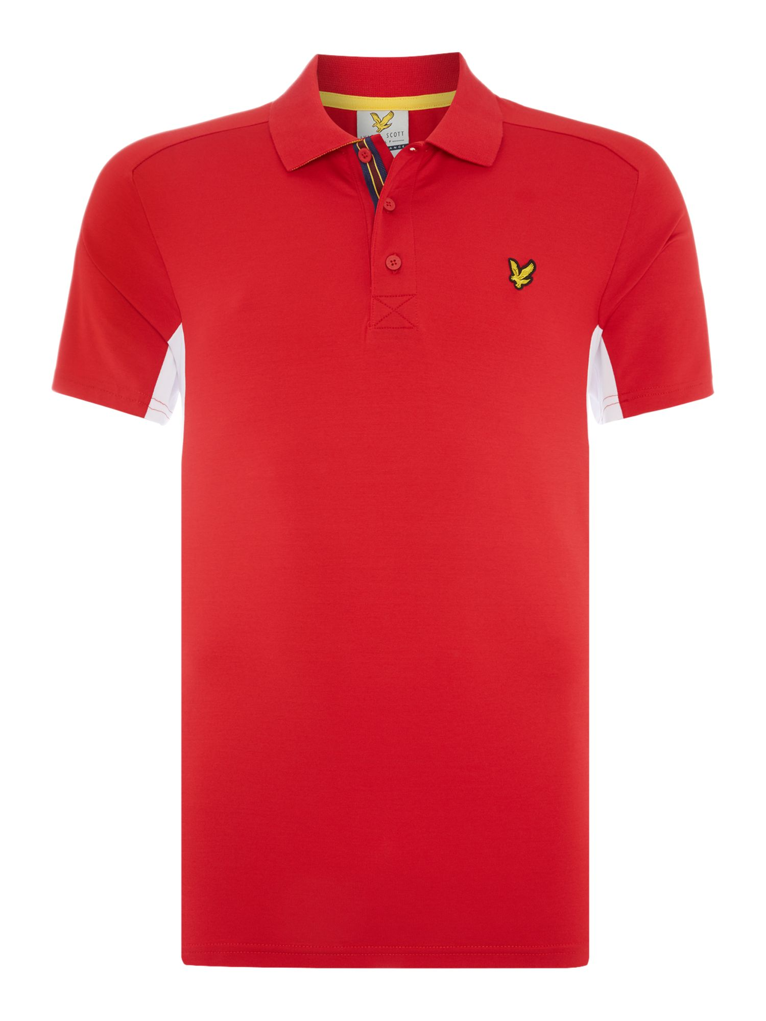 Lyle and Scott Men's Lyle and Scott Golf Short Sleeve Panel Polo Shirt, Red