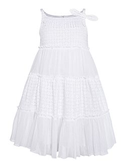 Girls Tiered Bow Shoulder Dress