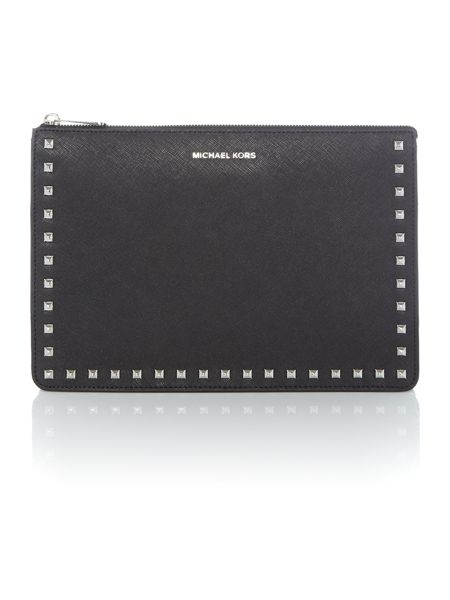 Michael Kors Ava black stud clutch bag