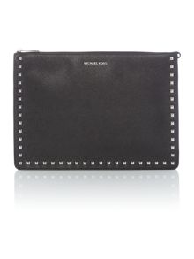 Michael Kors Ava black stud xl clutch bag