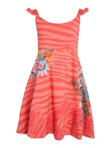 Angel & Rocket Girls Animal Print Floral Embroidered Dress