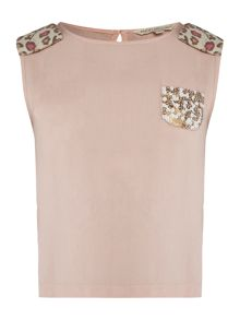 Angel & Rocket Girls Bow Shoulder Vest with Sequin Pocket