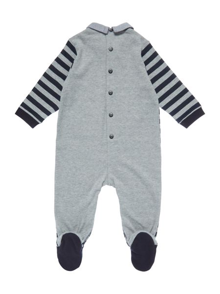 Armani Junior Babys Striped All-in-One with Mock Tie