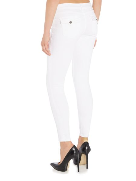 True Religion Casy crystal low rise super skinny jean in white