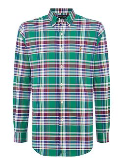 Long sleeve stretch check shirt