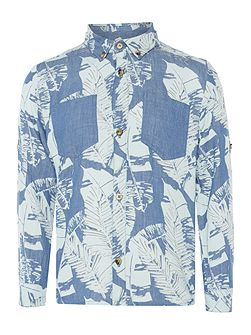 Boys Denim Leaf Print Shirt