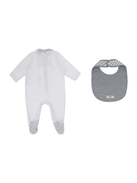Armani Junior Babys All-in-One with Bib 2 Piece Set