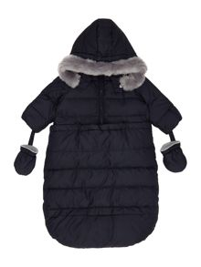 Armani Junior Babys Padded Pramsuit with Fur Trim Hood