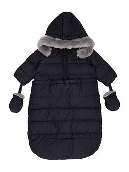 Babys Padded Pramsuit with Fur Trim Hood