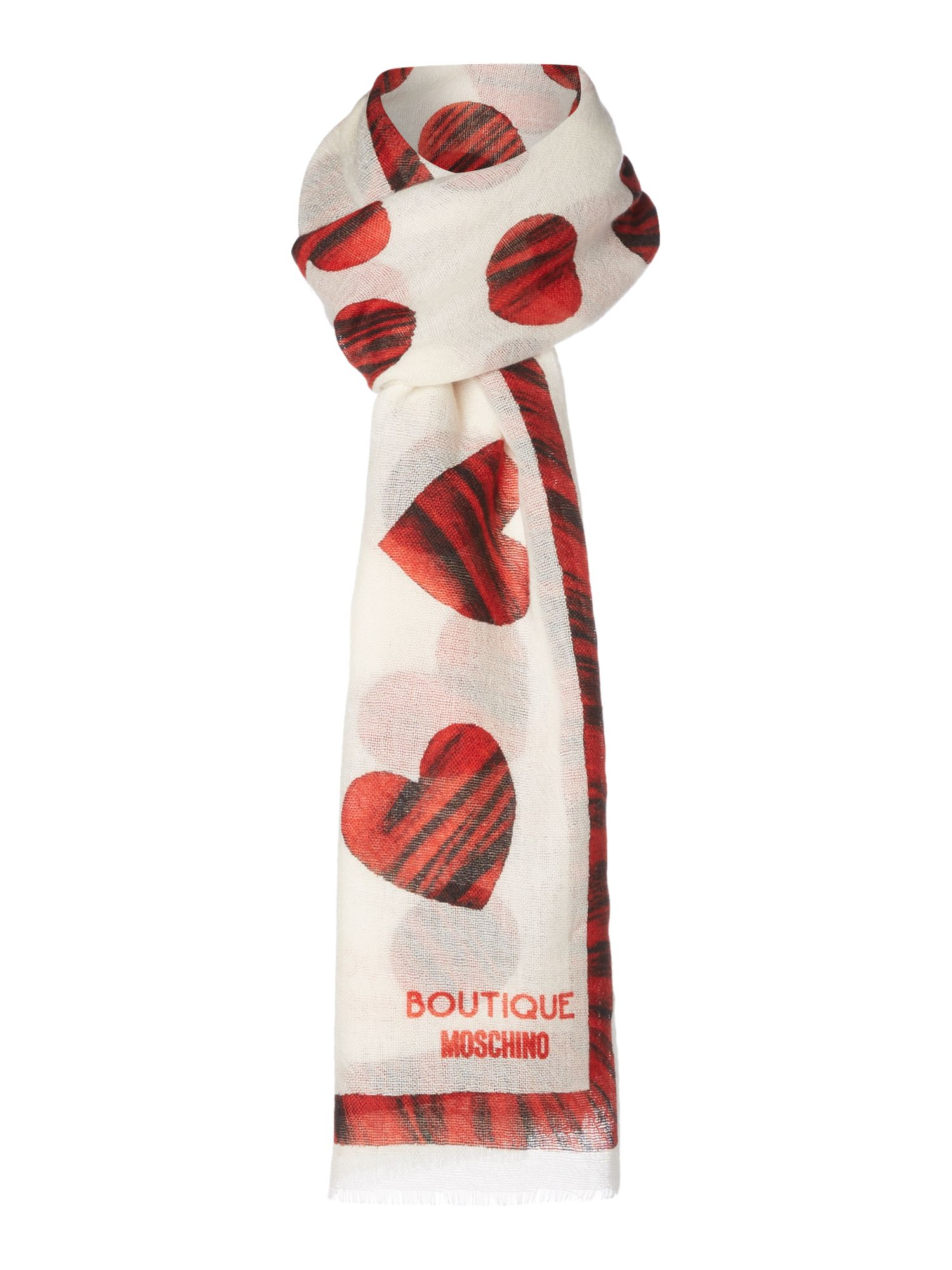 Boutique Moschino Boutique Moschino Lightweight wool heart print scarf, Cream
