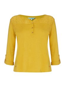 Dickins & Jones Hannah Henley Top with Lace panel