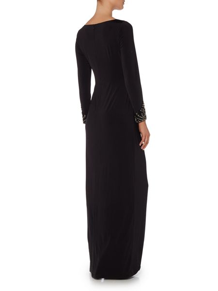 Adrianna Papell Long sleeve jersey gown with embellished cuffs