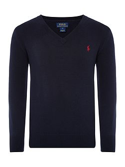 Boys V-neck Jumper with Elbow Patches