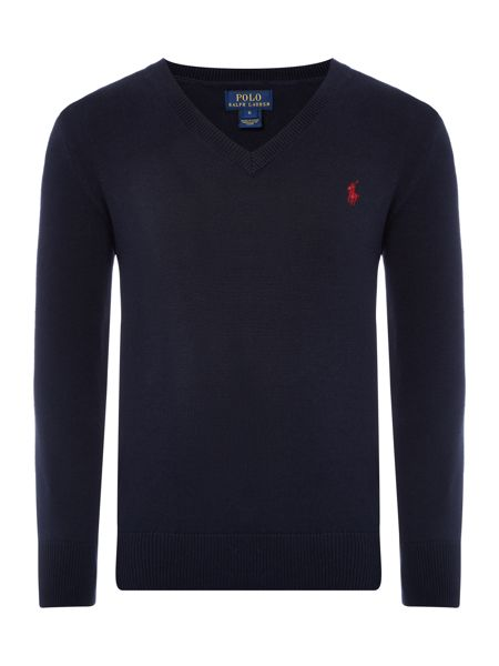 Polo Ralph Lauren Boys V-neck Jumper with Elbow Patches