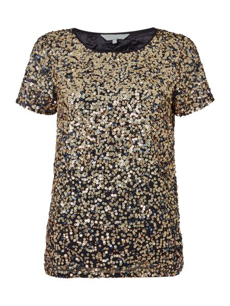 Gray & Willow Gael graduated sequin tee