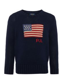 Polo Ralph Lauren Boys Crew Neck American Flag Jumper