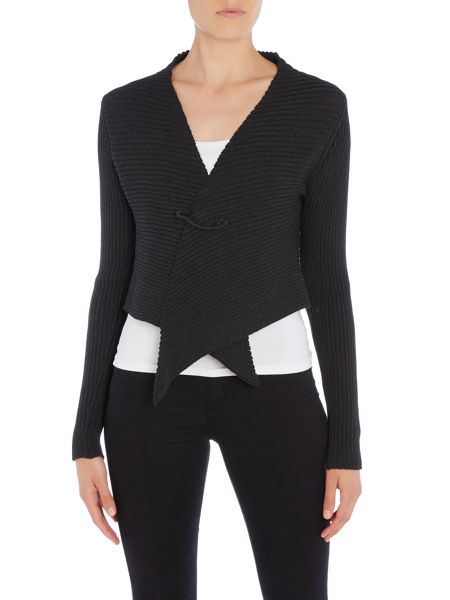 Crea Concept Ribbed short cardigan with pin
