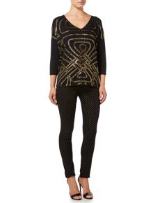 Biba Enlarged logo foil long sleeved tee