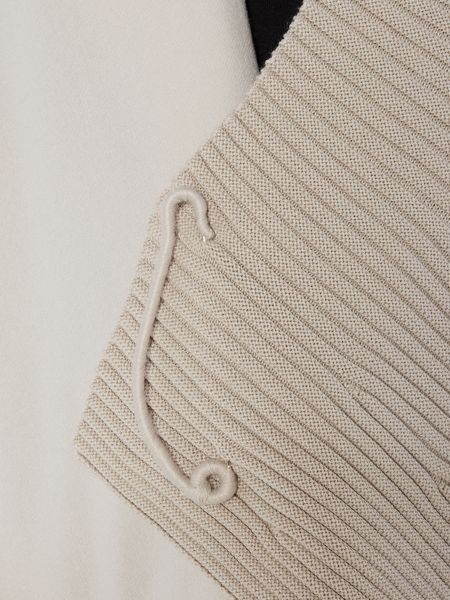 Crea Concept Half ribbed cardigan with pin