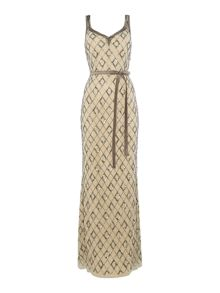 Ariella V neck diamond sequin gown with tie belt