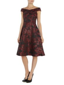 Ariella Jacquard fit and flare midi dress