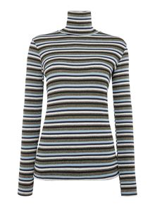 Biba Multi stripe long sleeve roll neck