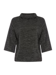 Crea Concept Textured half sleeve high neck jumper