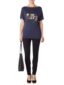 Biba Draped leopard oversized short sleeve tee