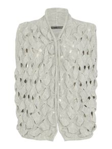 Crea Concept Woven knit cropped waistcoat with pin