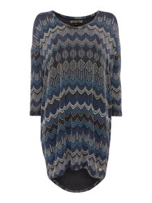 Biba Chevron jersey v neck oversized tunic
