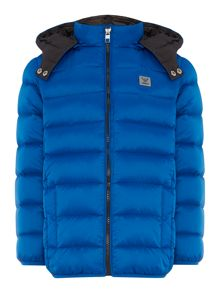 Armani Junior Boys Padded Zip Up Jacket with Hood
