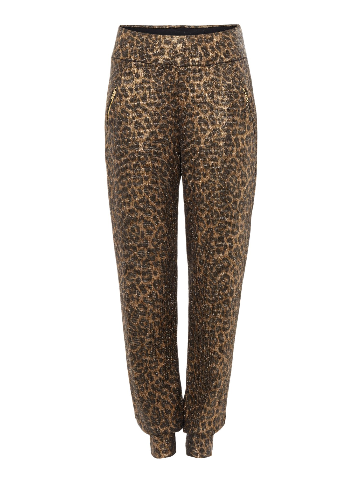 Biba Biba Body luxe casualwear leopard zip trousers, Gold