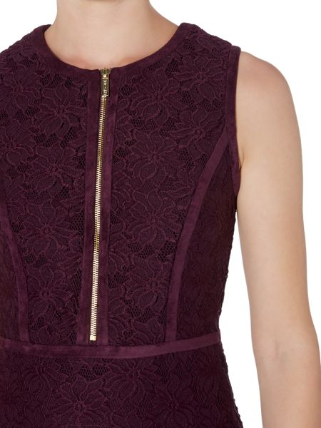 Episode Lace bodycon dress with suede panels & zip front