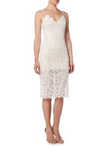 Bardot Sleeveless Low Neck Lace Bodycon Dress