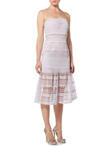 Bardot Strapless Drop Hem Lace Detail Dress