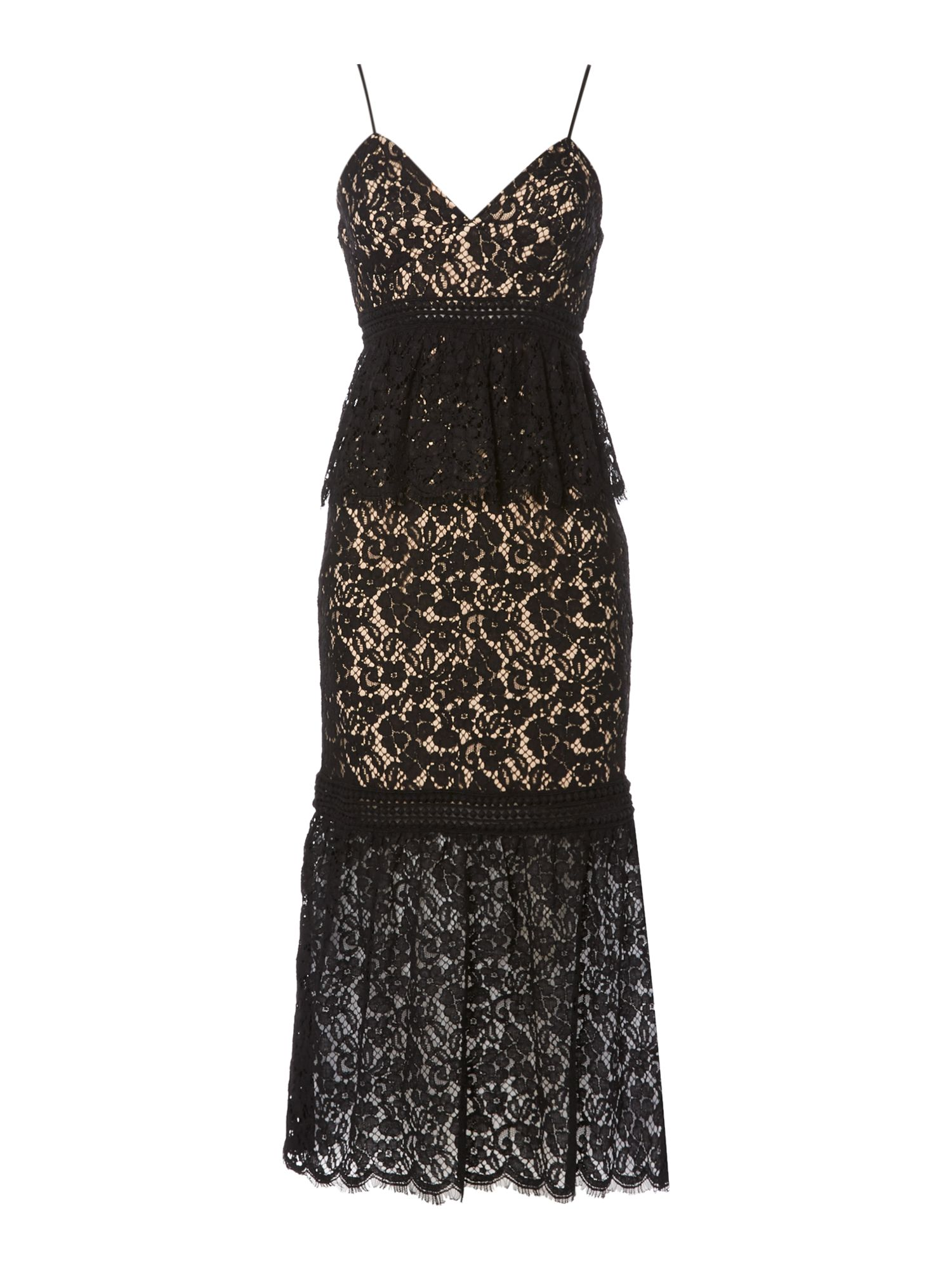Bardot Sleeveless Lace Overlay Midi Dress, Black