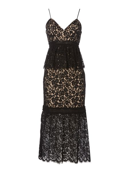 Bardot Sleeveless Lace Overlay Midi Dress