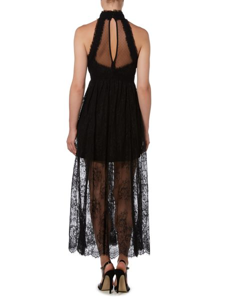 Bardot Sleeveless High Neck Lace Insert Waisted Dress