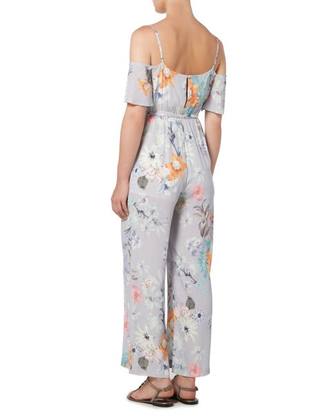 Bardot Cold Shoulder Tie Waist Floral Jumpsuit