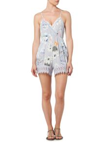 Bardot Sleeveless V Neck Floral Playsuit