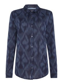 Maison Scotch Basic Long Sleeve Ikat Pattern Shirt