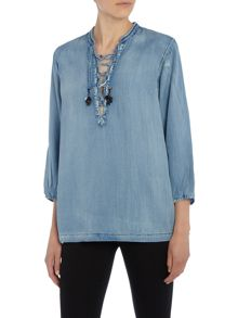 Maison Scotch Lace Up Top