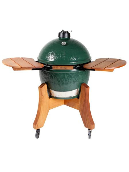 Big Green Egg X large barbecue in mahogany base with shelves