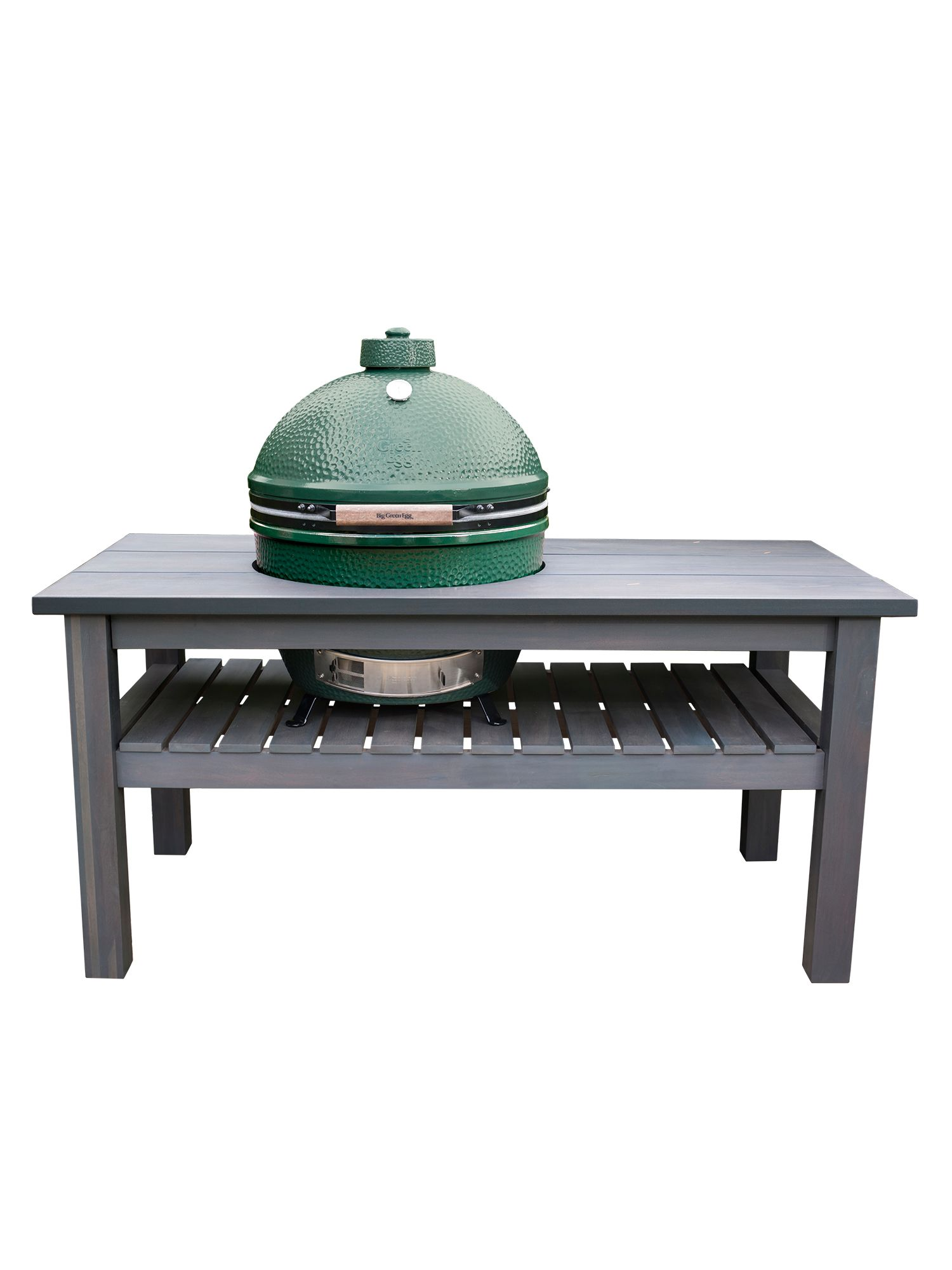 Image of Big Green Egg X large barbecue in slate grey table