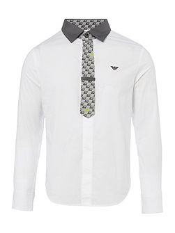 Boys Solid Shirt and Tie