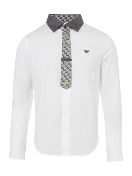 Armani Junior Boys Solid Shirt and Tie
