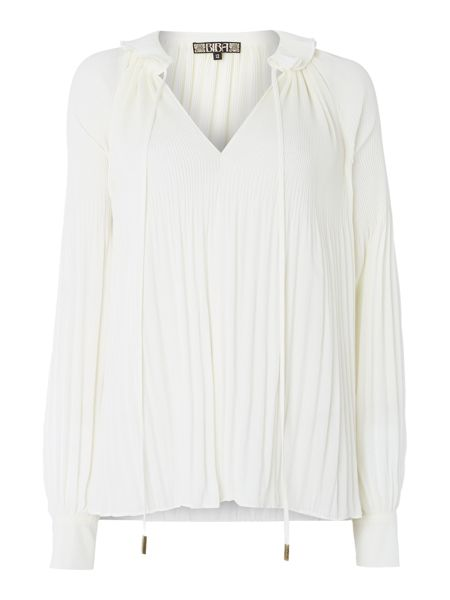 Biba Fully pleated collar detail blouse